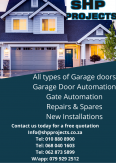Garage Doors & Automation (SHP Projects) - Safety & Security Services, Safety & Security Services, Krugersdorp, Gauteng